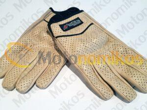 Γυναικεία δερμάτινα καλοκαιρινά γάντια μηχανής μπέζ δερμάτινα