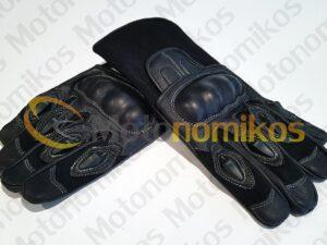 Δερμάτινα γάντια UTIKA με κόκκαλα για προστασία μαύρα για μηχανή