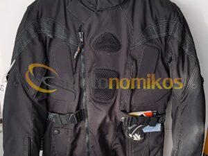 Μπουφάν μηχανής cortura μαύρο με διπλή εσωτερική επένδυση αδιάβροχο UTIKA 987441
